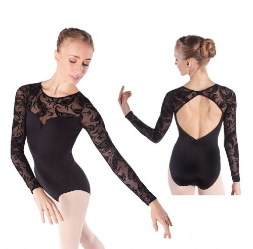 INTERMEZZO Dance Long Sleeve Leotard Sheer Mesh with Flocked Design Meryl Black